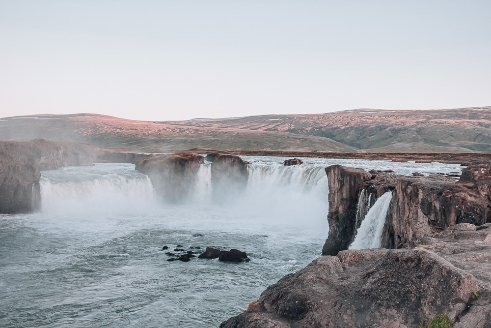 Godafoss Waterfall Iceland Sunset