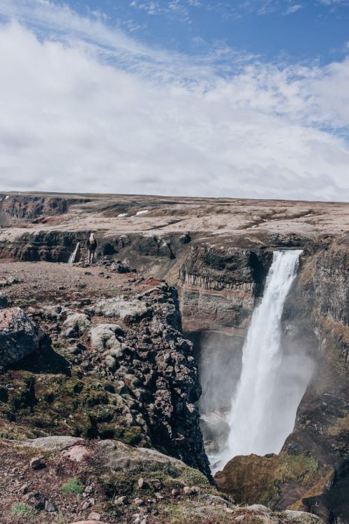 Looking over the edge at Haifoss waterfall in Iceland