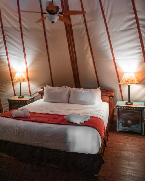 The bedroom in the Westgate River Ranch teepees