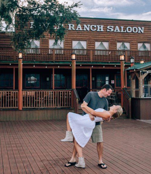 Dancing outside the saloon at a Florida dude ranch at Westgate River Ranch