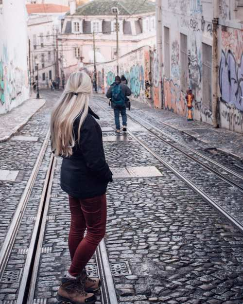 The walls along the tracks for Ascensor da Gloria are covered in street art. Find the most Instagrammable photo locations in Lisbon here with other Lisbon travel tips and a free map!