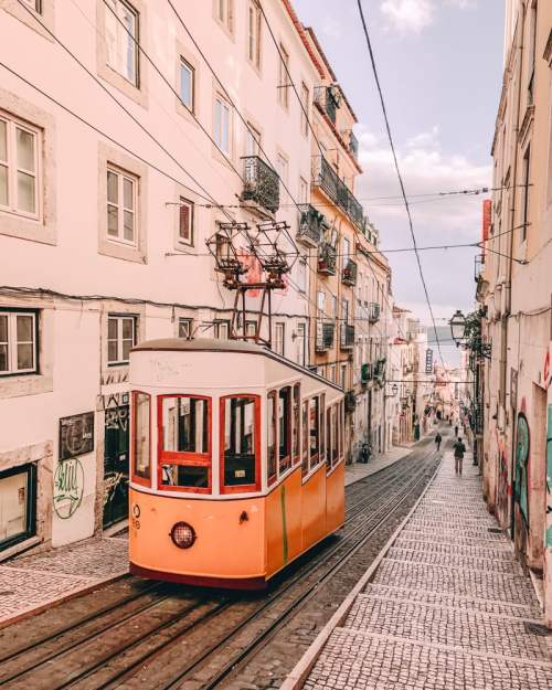 Elevador da Bica in Lisbon. Click here for a map and guide to the most Instagrammable spots in Lisbon, Portugal.