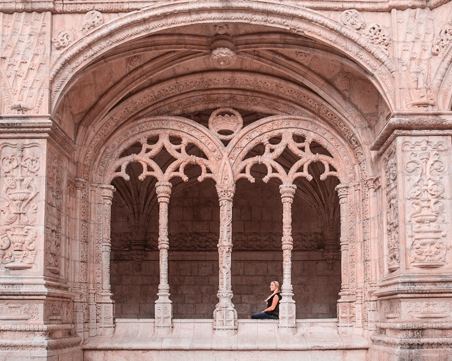 Inside windows in Jeronimo's Monastery in Lisbon, Portugal. Click here for a list of the most Instagrammable places in Lisbon, Portugal, plus a free map and other Lisbon travel tips.