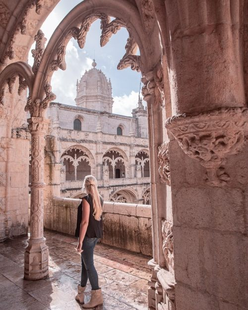 Inside of Jeronimo's Monastery in Belem near Lisbon, Portugal. Click here for a full guide to Lisbon's most popular photo locations plus a free map and other Lisbon travel tips.