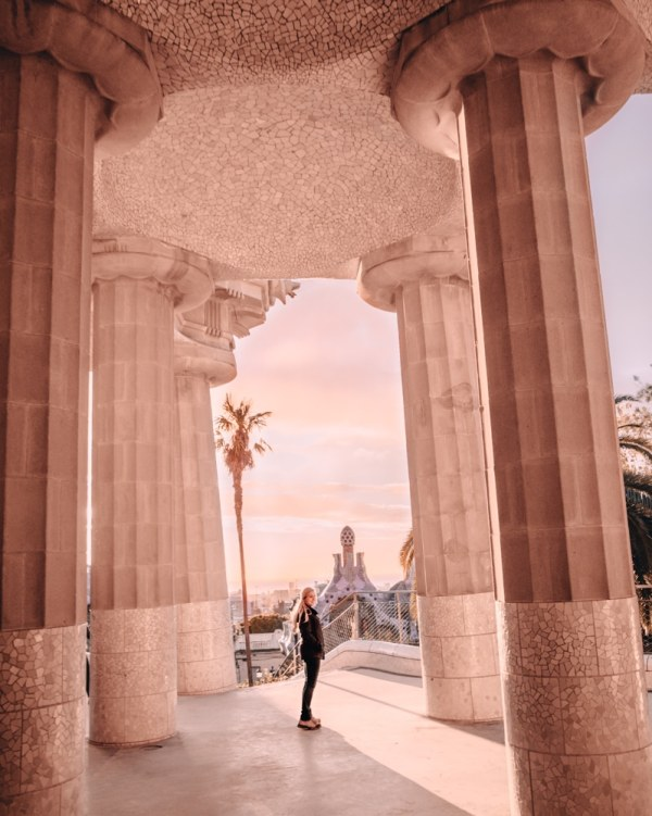 Park Guell is one of the most Instagrammable places in Barcelona - go early to beat the crowds. Click here for a full 3 day Barcelona itinerary with all the best photo spots.