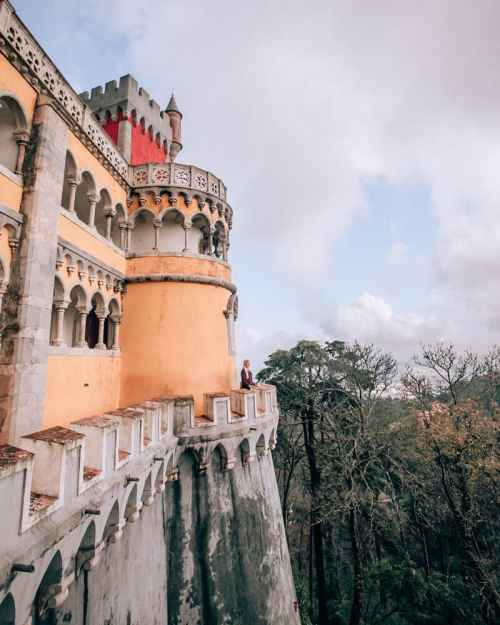 Woman at Pena Palace in Sintra, Portugal