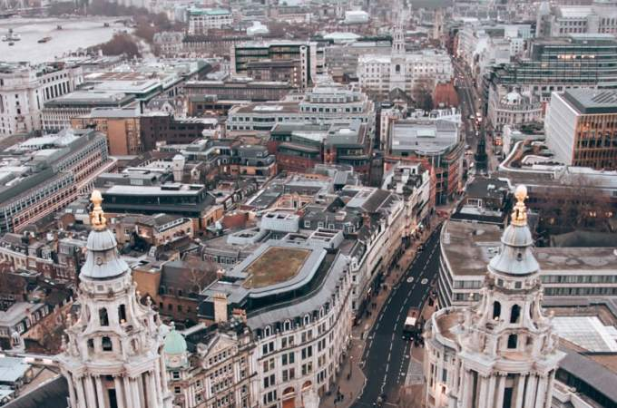 View from the top of St. Paul's Cathedral near sunset. Find the perfect 3 day itinerary for London with Instagrammable places to see, places to eat, and places to stay.