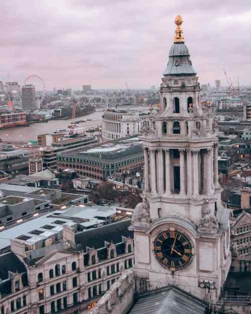 从伦敦的顶层酒店从山顶上看到的。保罗·海斯街附近的日落。在伦敦的第三天,伦敦的一页,一份地图!