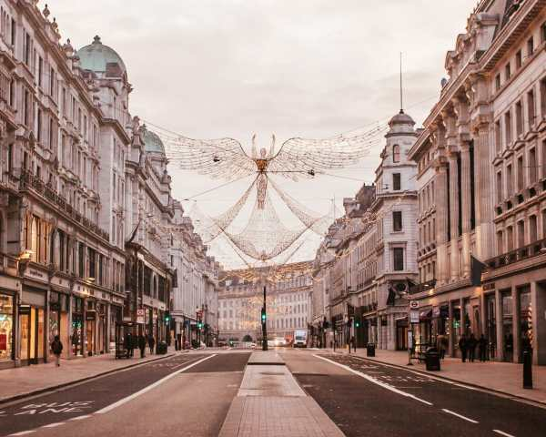 Regent Street's Christmas angels at sunrise when the streets are empty. Find all the best London Christmas lights locations and tips here (plus a free map!)