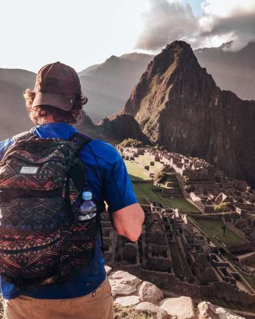 Looking out at Machu Picchu at sunrise