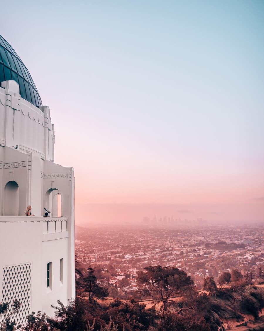 Griffith Observatory and the view of Los Angeles at sunrise