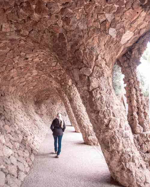 The Laundry Room Portico in Park Guell is a curved walkway popular in Instagram photos