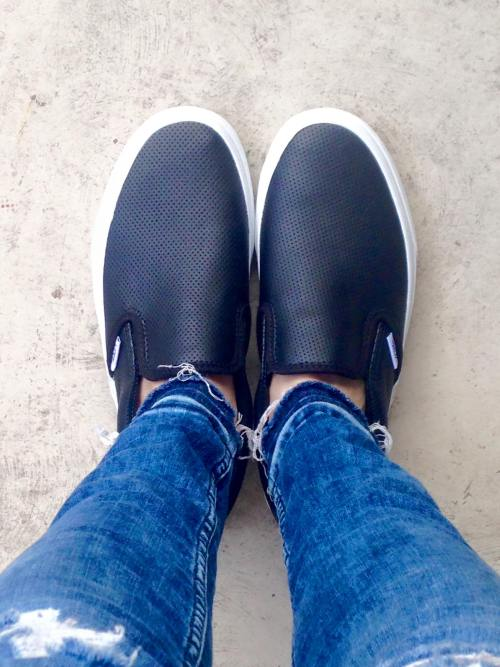 Vans perforated Leather classic slip-ons