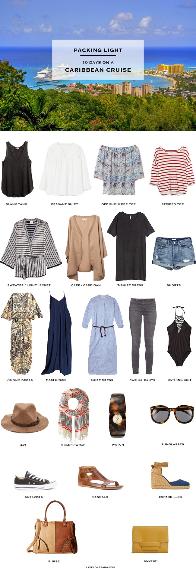What to pack for a Caribbean Cruise - Packing Light - livelovesara