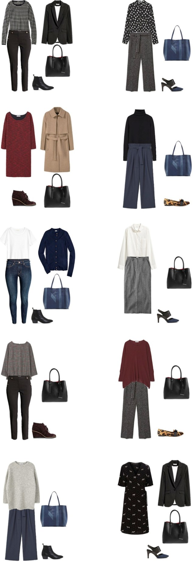 Fall/winter work capsule wardrobe business casual outfit options 1-10 #capsule #capsulewardrobe #workcapsule #workwear
