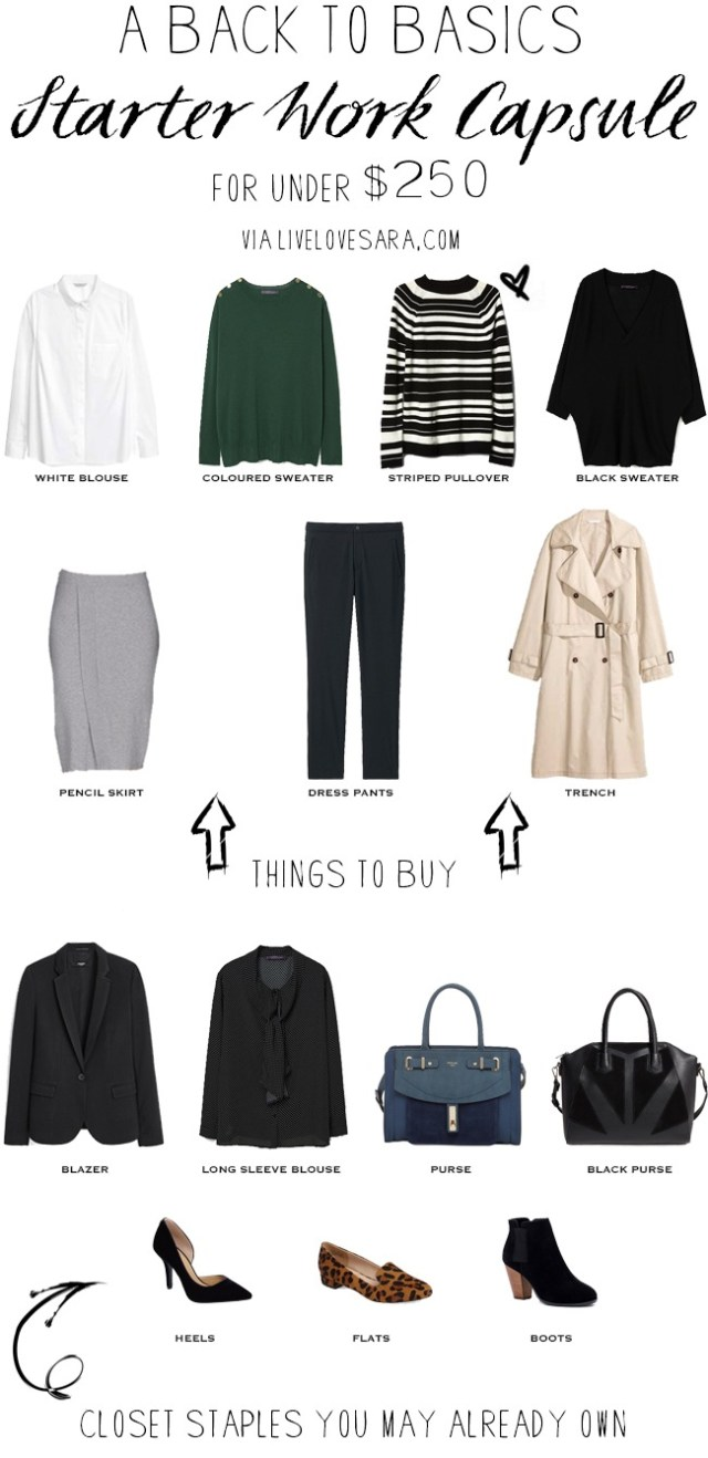 Back to Basics Starter Work Capsule for under $250 #capsule #workwardrobe #capsulewardrobe #staples #basics #livelovesara