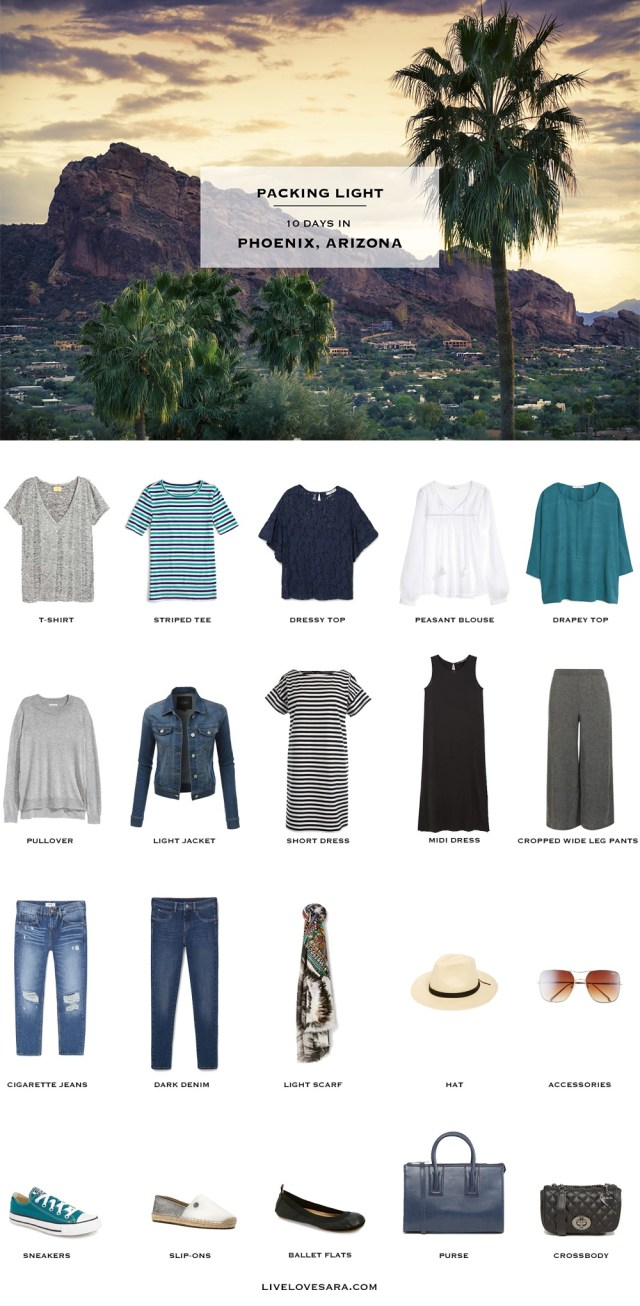 What to Pack for Phoenix Arizona Packing Light List #packinglist #packinglight #travellight #travel #livelovesara