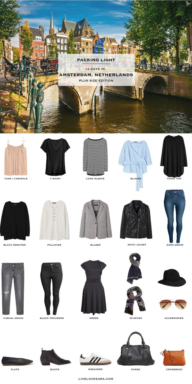 What to Pack for Amsterdam, Berlin, and Paris Plus Size Edition Packing Light List #packinglist #packinglight #travellight #travel #livelovesara