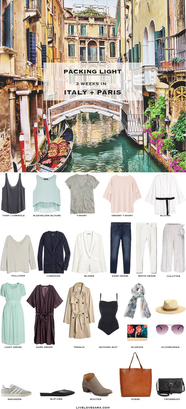 What to Pack for Italy and Paris Packing Light List #packinglist #packinglight #travellight #travel #livelovesara