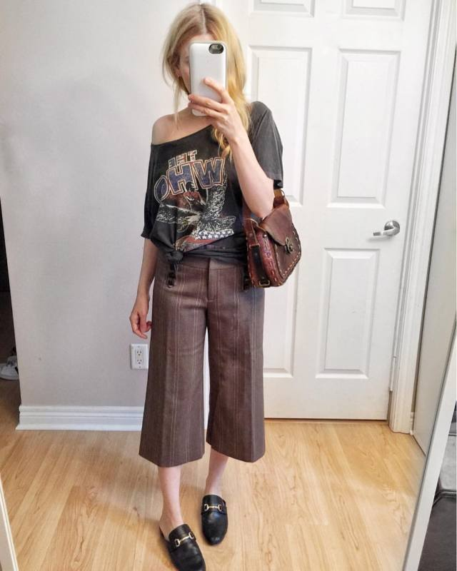 brown, check culottes, bad tee, slides, and vintage purse
