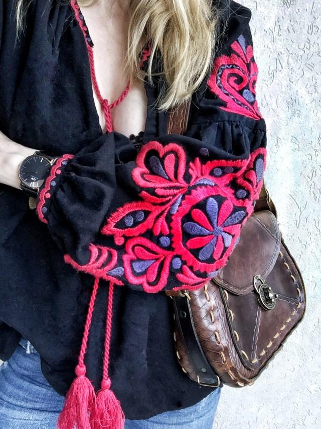 peasant shirt, and vintage purse