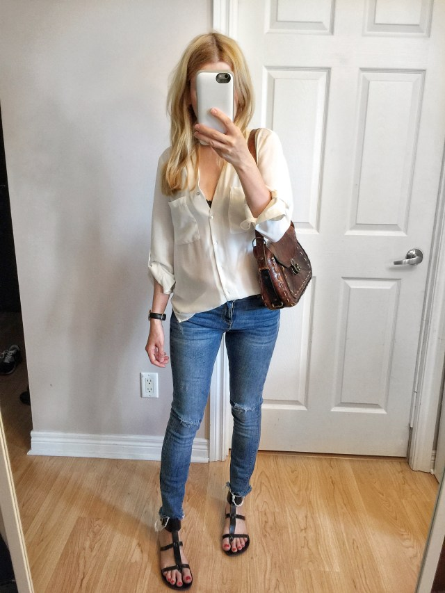 white blouse, skinny jeans, gladiator sandals