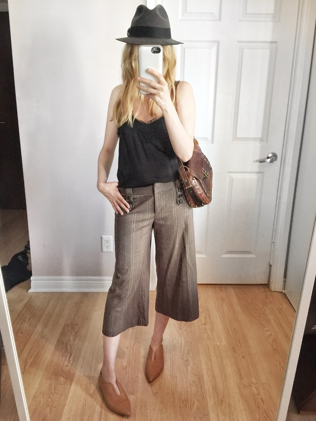 Culottes, camisole, and fedora