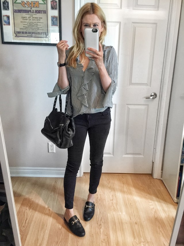 Striped Blouse, black pants, and slides