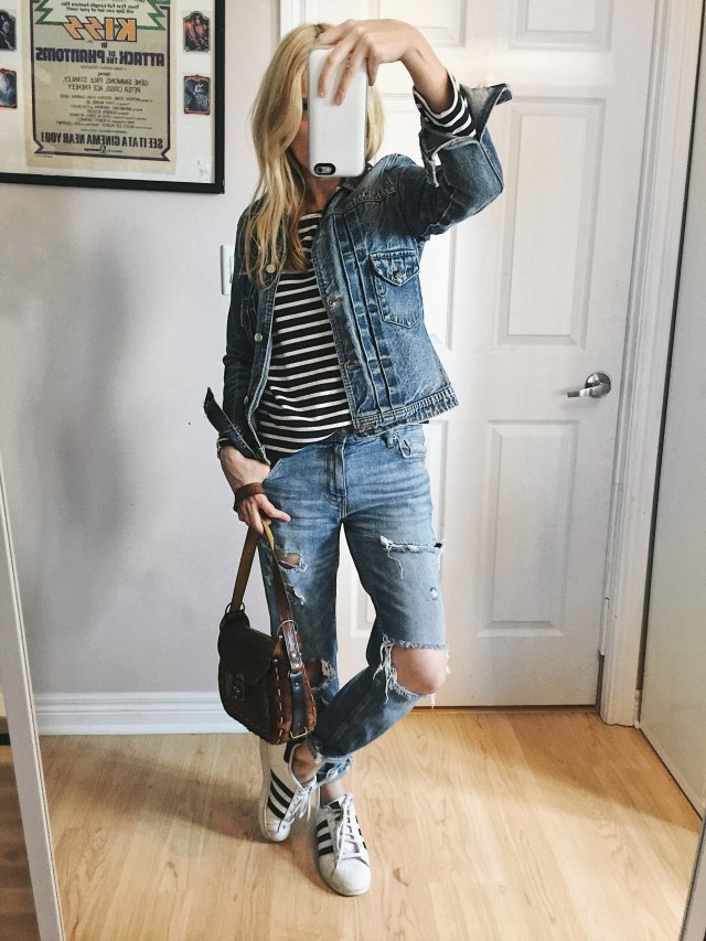 Denim on denim with stripes