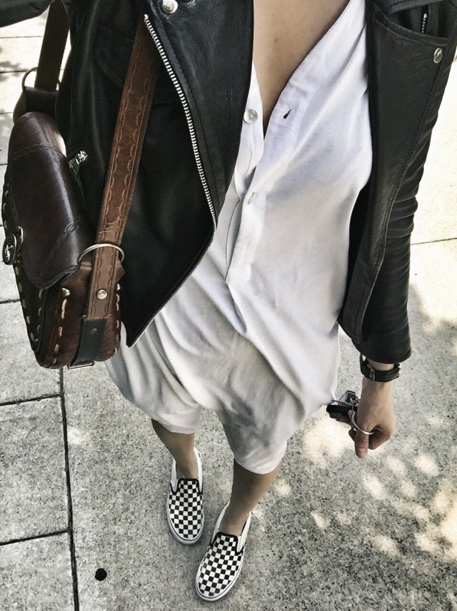 White dress and Moto jacket