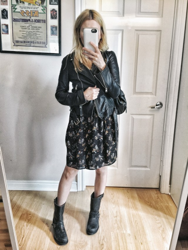 Thrifted dress, Leather jacket, Frye Boots