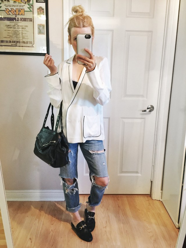 White pyjama blouse, distressed jeans, and mules