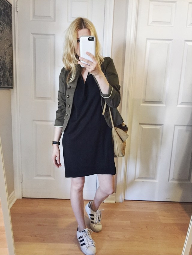 black t-shirt dress and military jacket