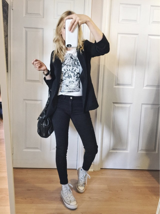 Blazer, band tee, black pants, and converse