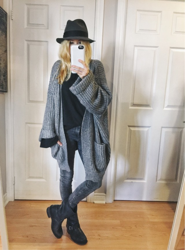 Oversized cardigan, Fedora, and Frye Engineer boots