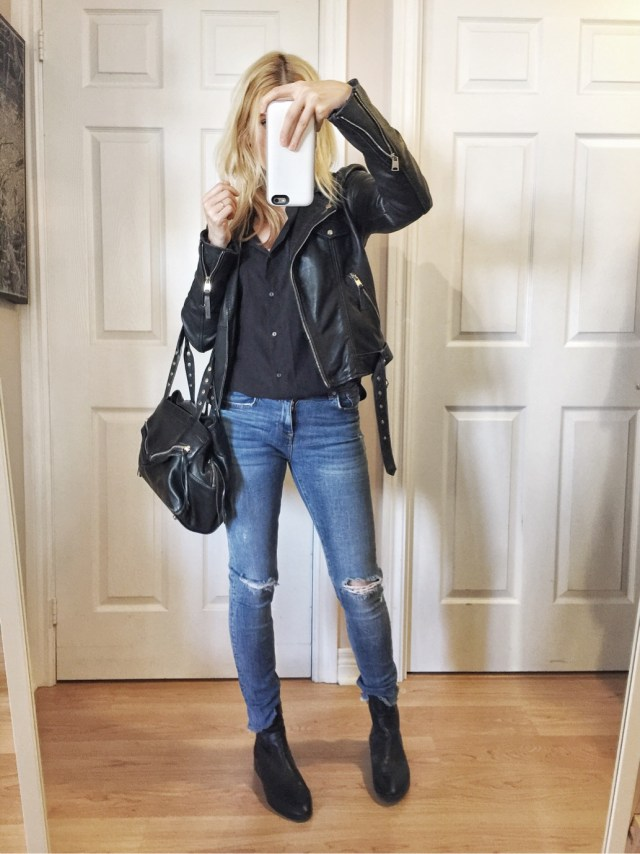 Black silk blouse, leather jacket, and skinny jeans