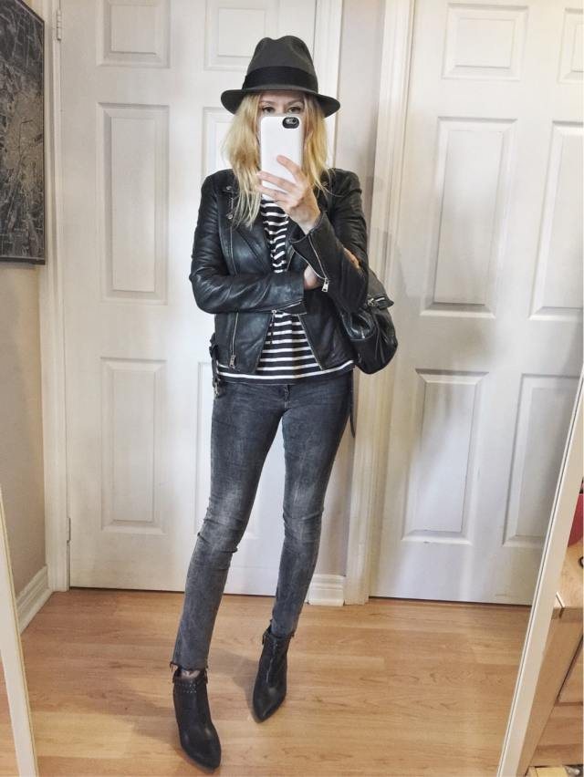Leather Jacket, striped shirt, grey jeans, and fedora