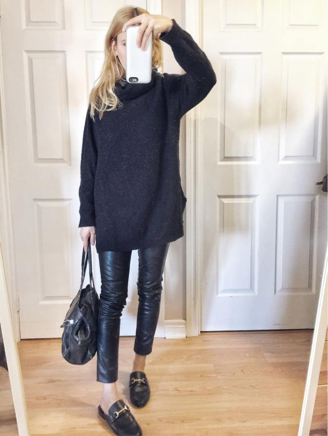 Black turtleneck sweater, leather pants, mules