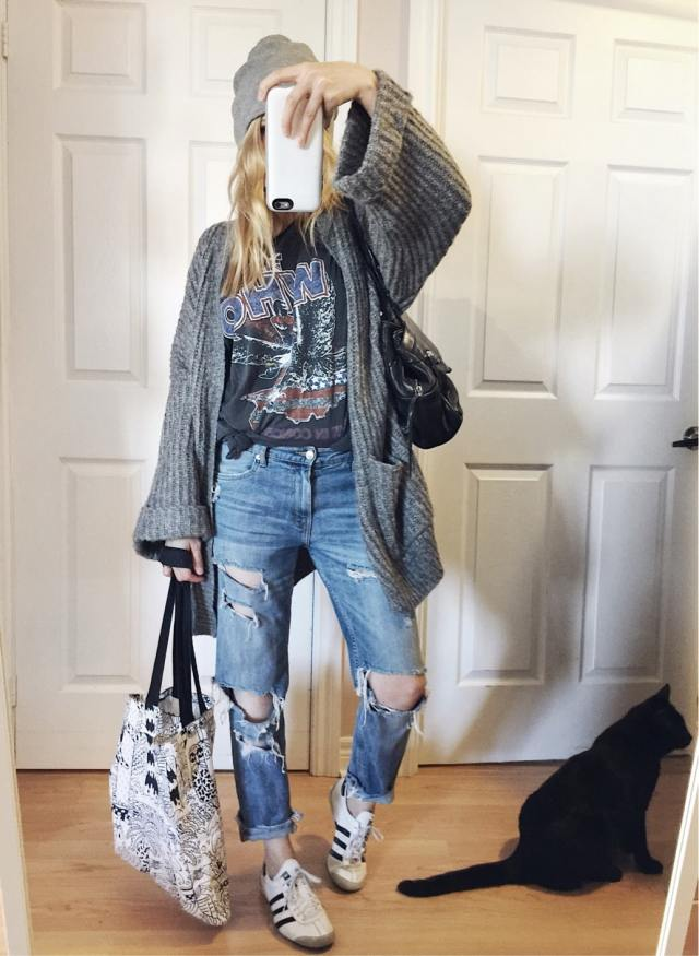 Oversized cardigan, band tee, boyfriend jeans, beanie, and Adidas