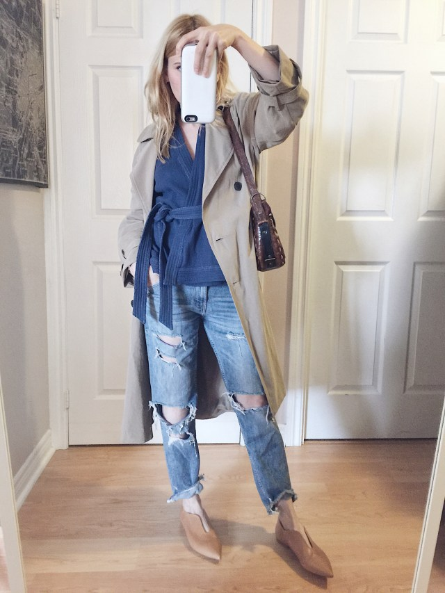 Kimono shirt, trench, boyfriend jeans, and zara flats