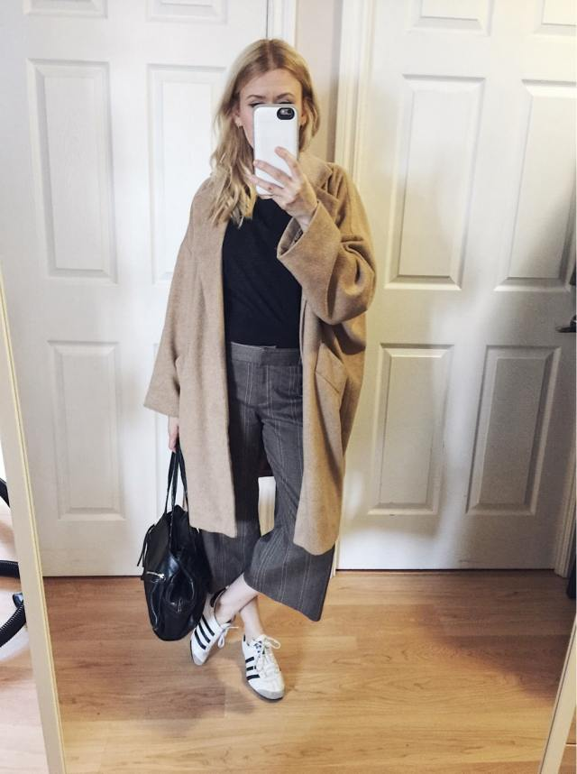Oversized coat, culottes, black tee, Adidas
