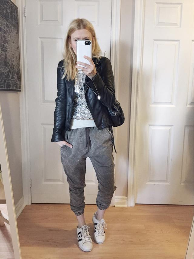 Sequin shirt, joggers, leather jacket, and Adidas