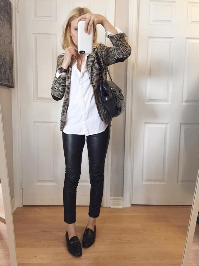 faux Leather pants, white blouse, check blazer, and loafers