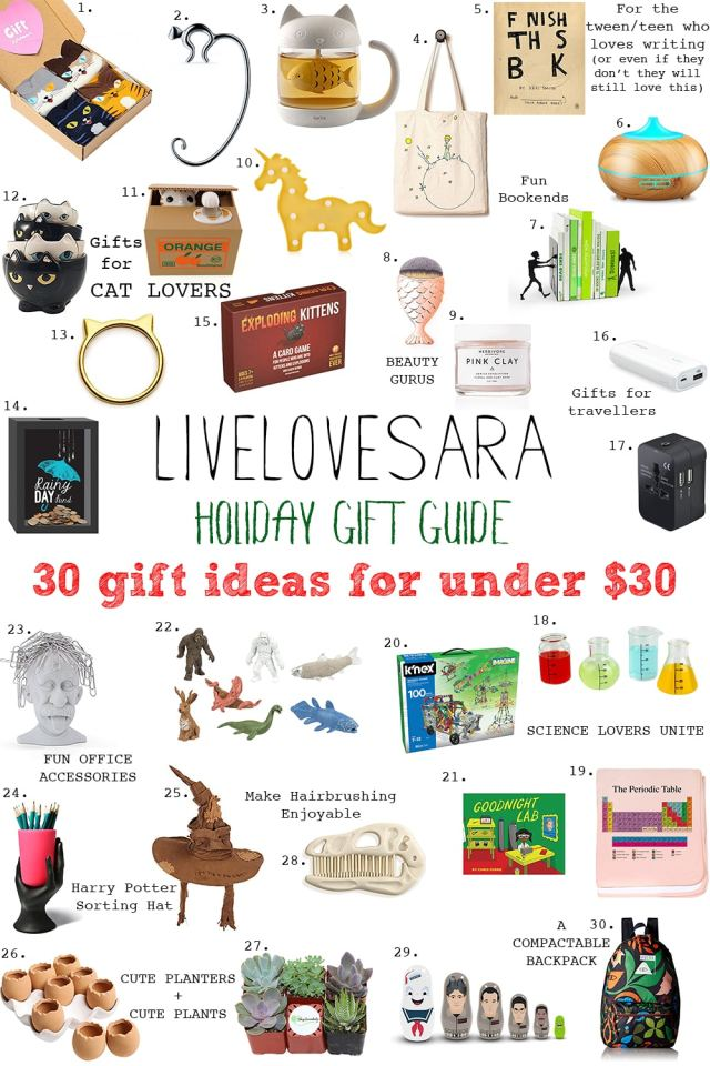 Holiday Gift Guide 30 gifts for under $30 #giftguide #holiday2017 #holidaygiftguide #christmasgiftguide #christmas2017