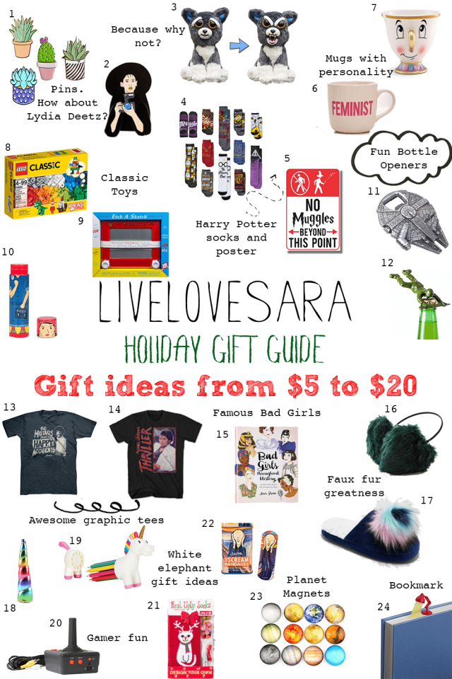 Holiday Gift Guide gifts from $5 to $20 #giftguide #holiday2017 #holidaygiftguide #christmasgiftguide #christmas2017