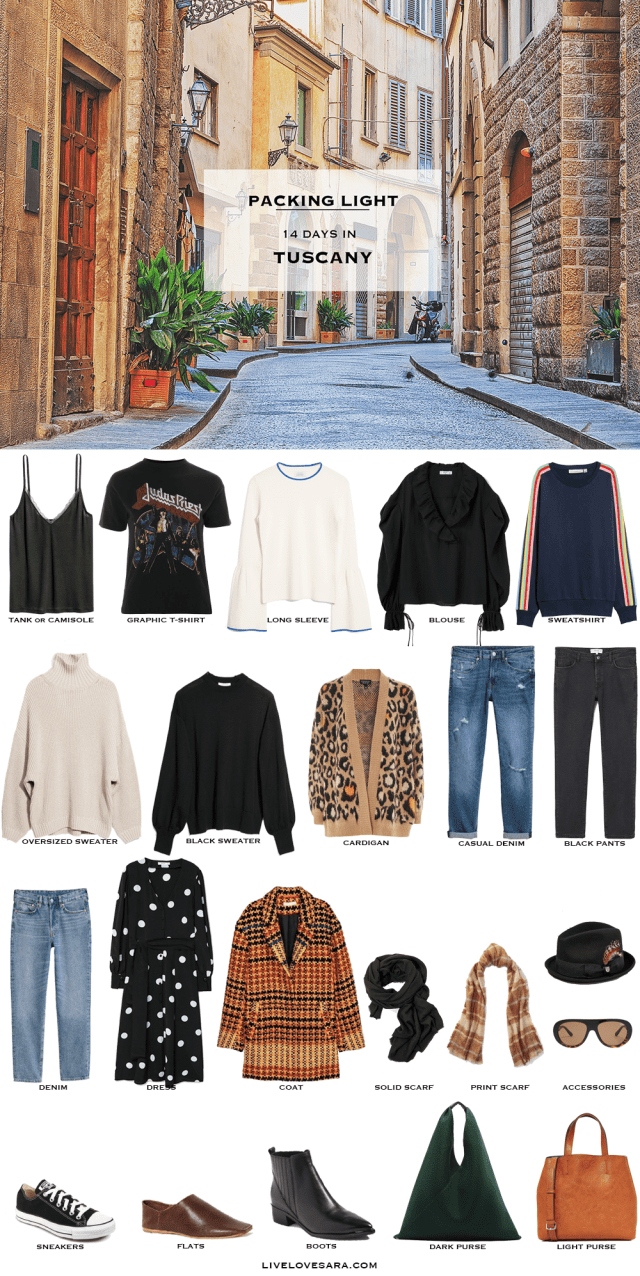 What to Pack for the Tuscany Packing Light List #travellight #packinglight #packinglist #travel #traveltips #capsule #capsulewardrobe #livelovesara
