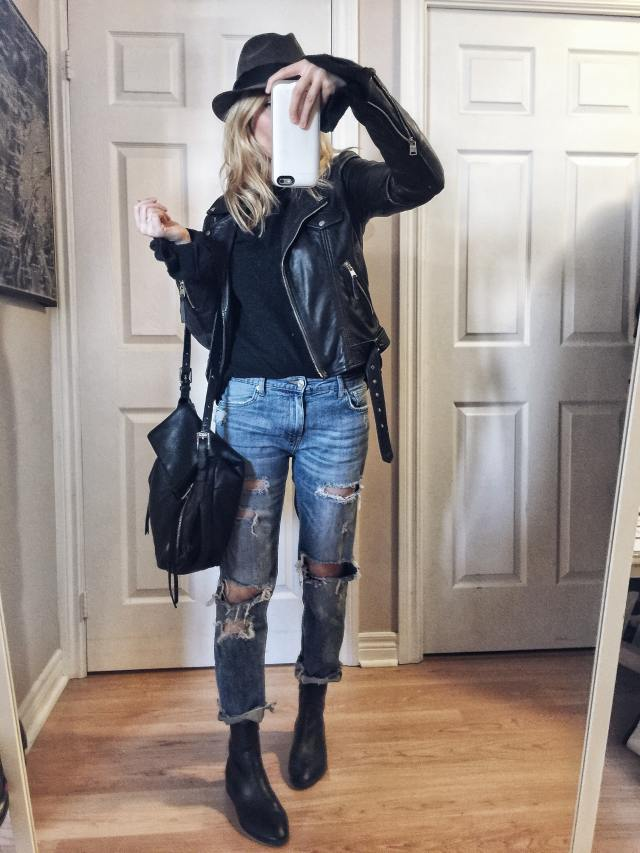 Black Sweater | Leather Jacket | Boyfriend Jeans | Fedora | Sock Boots |