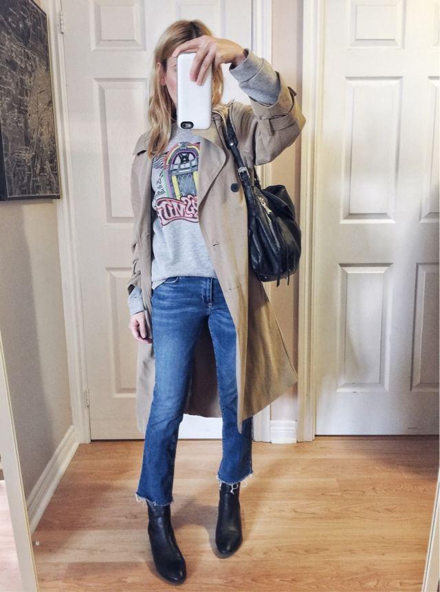 Aerosmith sweatshirt, trench coat, kick flares, sock boots
