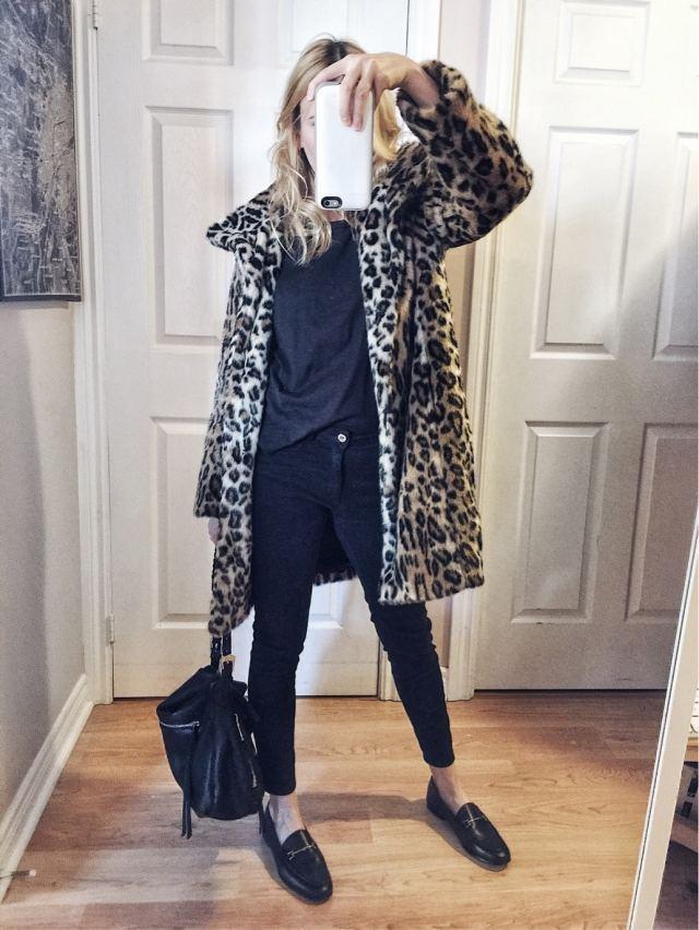 animal print jacket, black tee, black jeans, loafers