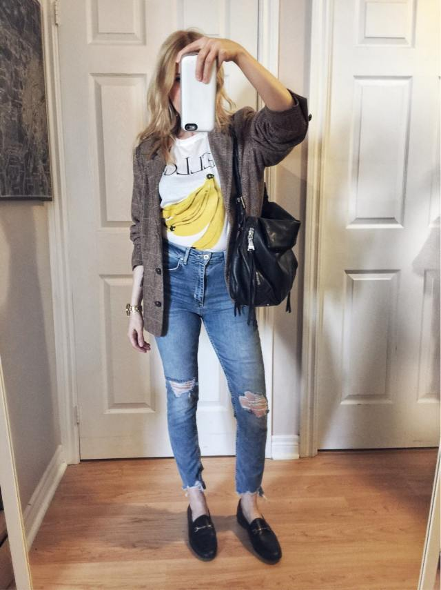 ganni yellow banana shirt, Levis, oversized blazer, loafers